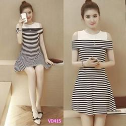 Đầm xòe thiết kế bẹt vaiVD415 - V140