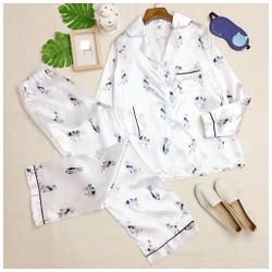 Set đồ bộ dài in hoạ tiết mèo áo pyjama tay lỡ và quần sooc