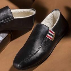 Giày lười da nam lót lông mùa đông thời trang LÂM ANH - Đen