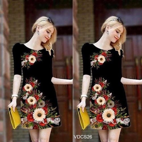 Đầm suông in hoa 3D tay lở VDCS26 - V185