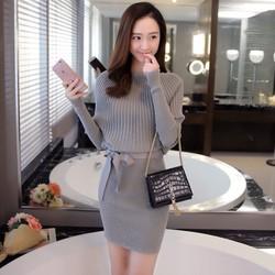 Hàng nhập đầm len nữ lady cột eo Da19