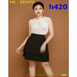 Sét áo kiểu sát nách ren trắng và chân váy 2 tầng phong cách SEV470