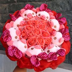 Hoa gấu bông heo hồng - Liên hệ để giao hàng