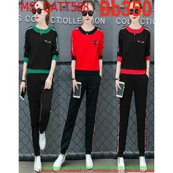 Bộ thể thao nữ dài phối sọc màu nổi bật trẻ trung QATT568