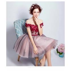 Đầm xòe ren bẹt vai đính hoa 4D