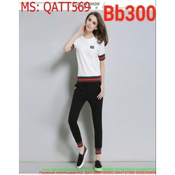 Bộ thể thao nữ dài áo thun ngắn tay sọc xanh đỏ thời trang QATT569