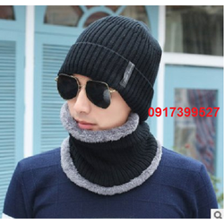 Nón len nam kèm khăn mũ len nam nữ L12NL114