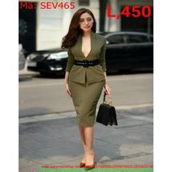 Sét áo xẻ cổ V và chân váy bút chì thời trang sexy SEV465