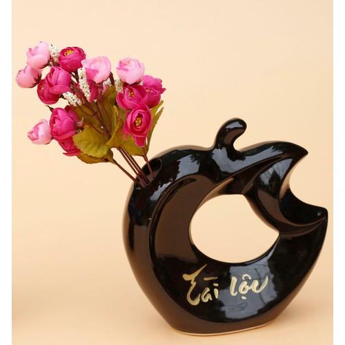 Lọ hoa trang trí Gốm Bát Tràng Quả táo Apple Màu đen Tài Lộc