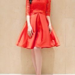 Đầm ren đỏ phối phi tay dài DNT498