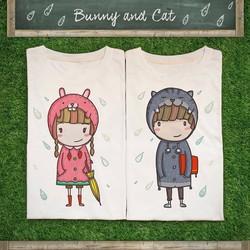 Áo thun đôi form rộng Bunny and Cat DD12