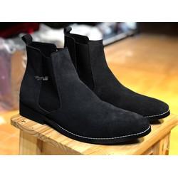 Giày nam cao cổ da lộn màu đen giá rẻ