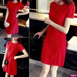 Đầm đỏ ren suông tay ngắn xinh xắnVD517 - V155