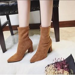 Giày boots mũi nhọn cổ lửng phối thun