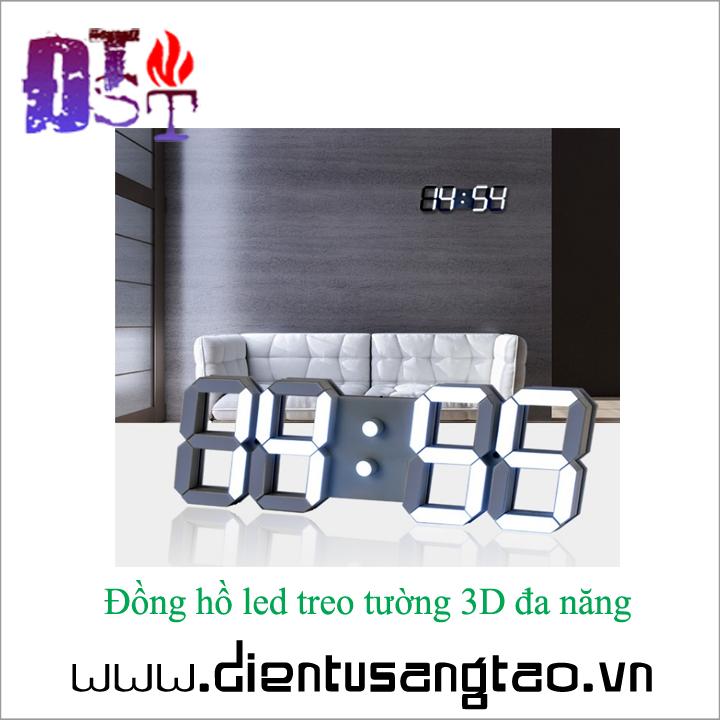 Đồng hồ led treo tường 3D đa năng - Hàng cao cấp 4