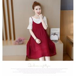 Đầm Bầu - Sét Váy Kiểu Dáng Hàn Quốc Xếp Ly Đỏ Cao Cấp