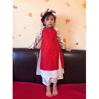 Áo dài bé gái gấm 4 tà cao cấp +quần+ Mấn 10-35 KG HOT