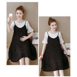 Đầm Bầu - Sét Váy Kiểu Dáng Hàn Quốc Xếp Ly Đen Cao Cấp
