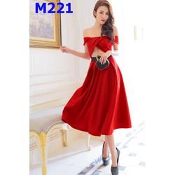 M221- - SIZE M - ĐẦM DÁNG XÒE TRỄ VAI HỞ BỤNG QUYẾN RŨ - 2034
