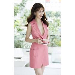 Đầm suông Ngọc Trinh kiểu vest thiết kế đơn giản, trẻ trung