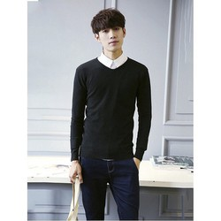 Áo nam cổ tim màu đen Hàn Quốc
