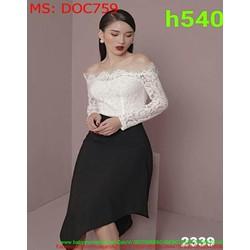 Đầm ôm dự tiệc bẹt vai ngang ren trắng và xẻ chéo sành điệu DOC759