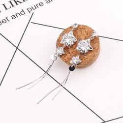 Bông tai thả dài ngôi sao đính kim cương nhân tạo cá tính sang trọng