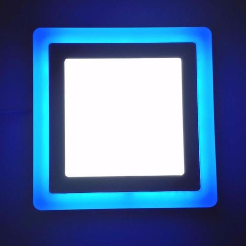 Đèn led ốp trần vuông 16W viền xanh dương