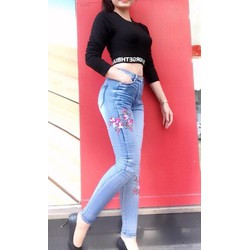 Quần jeans thun thêu hoa co dãn cao cấp