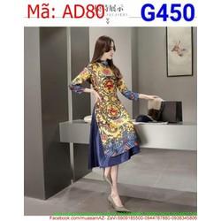 Sét áo dài cách tân nữ hình hoa văn màu sắc rực rỡ AD80