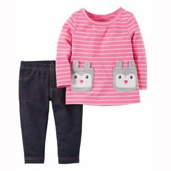 Bộ tay dài áo thun quần legging giả jean Carter cho bé gái 3m-24m B176