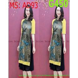 Sét áo dài nữ cách tân nữ vải hoa phối tay màu thời trang AD93