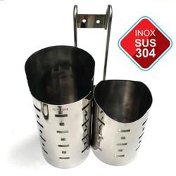 Hộp Để Đũa Inox 304 - Ống Đũa Inox 304 - Lọ Đũa 2 Ngăn