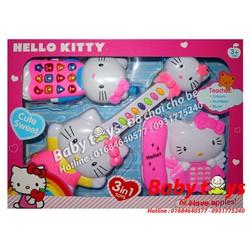 Bộ 3 đàn Hello Kitty KT1203 - Dùng pin, có đèn, nhạc