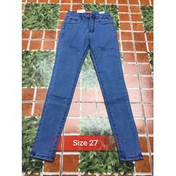 quần jean nữ co giãn xanh trơn basic