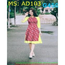 Sét áo dài nữ cách tân vải đỏ hoa phối màu vàng thời trang AD103