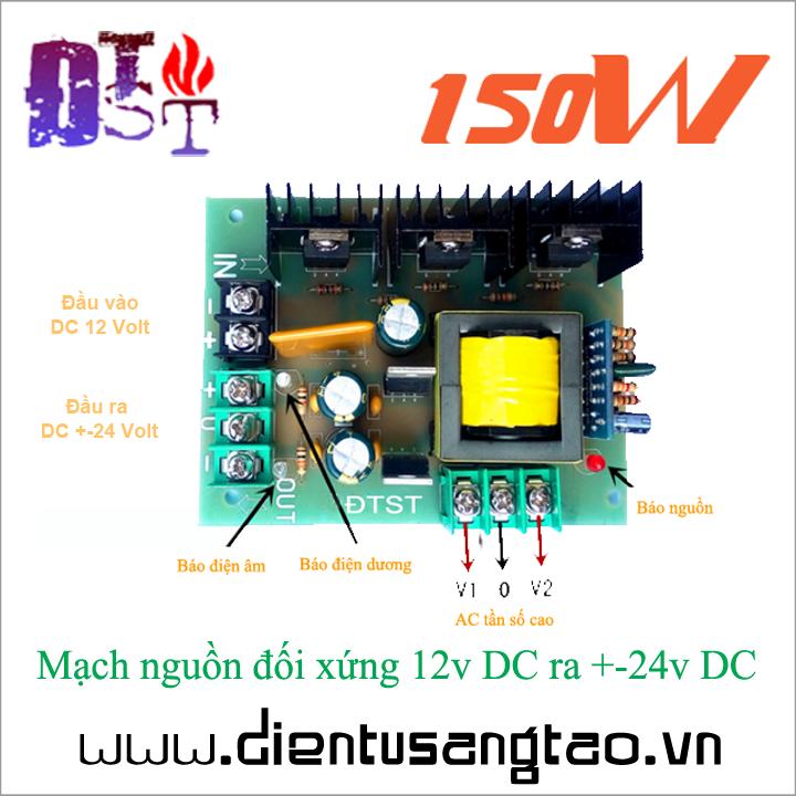 Mạch nguồn đối xứng 12v DC ra +-24v DC 1