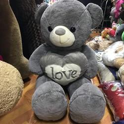 Thú bông gấu bông ôm tim love chữ trắng 1m3