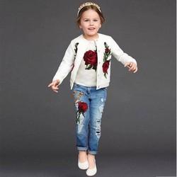 Set 3 quần jean, áo khoác, áo thun bé gái