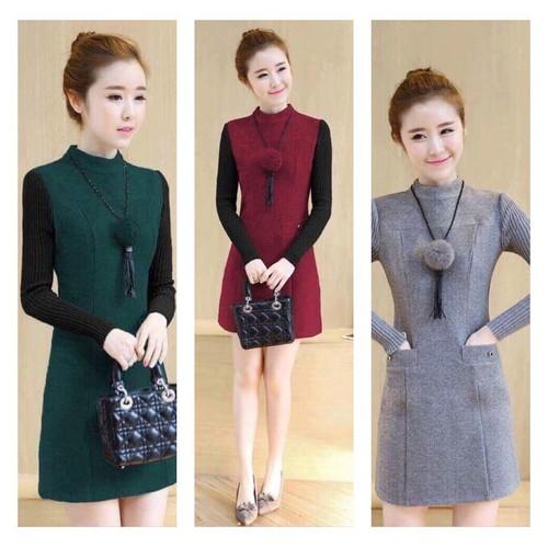 Đầm Suông Hai Túi Phối Len Siêu Hot - d8445