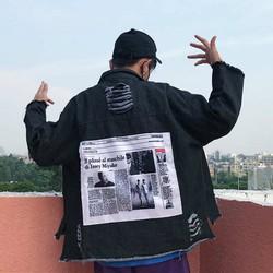 áo khoác jeans rách chắp vá Mã: AO3274 - ĐEN