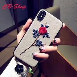 Ốp lưng vải nỉ thêu hoa nổi hàng thủ công cao cấp Iphone X