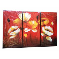 Bộ tranh sơn dầu 3 tấm ghép, kích thước 90x60cm. S19-2-hoa
