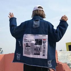 áo khoác jeans rách chắp vá Mã: AO3274 - XANH