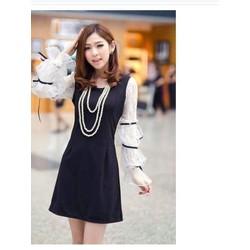 Đầm đen tay phối ren thắt nơ cực xinh