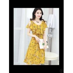 Đầm hoa khoét vai bèo ngực