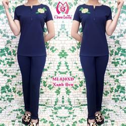 Bộ mặc nhà nữ Hoa mẫu đơn tay ngắn quần dài MISS LATHY ML030