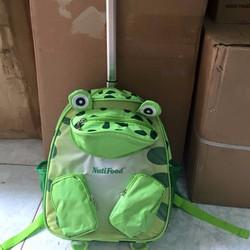 ba lô kéo vải dù hình con ếch xanh bền đẹp cho bé đi học