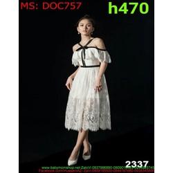 Đầm ôm dư tiệc bẹt vai phối viên đen sành điệu và trẻ trung DOC757