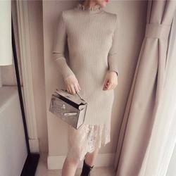Đầm len phối lai ren